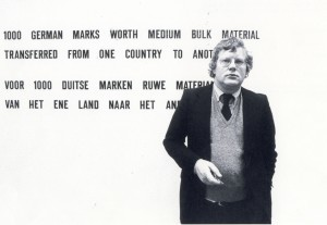 Rudi Fuchs with a work by Lawrence Weiner. Photo: Peter Cox.