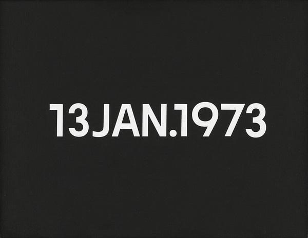 "On Kawara, 13 Jan. 1973 "" Lördag, 1973, collection Van Abbemuseum, Eindhoven. Photo: Peter Cox"