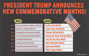 Trump Announces New Commemorative Months